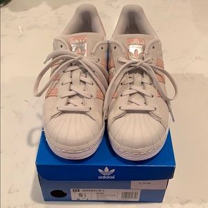 Adidas superstar cream and pink 3 stripe men's 5.5
